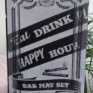 """Beer Party Bar Mats Set of 2 Happy Hour & Eat Drink Play 19.75"""" Long New In Box!"""