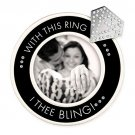 """With This Ring I Thee Bling Engagement Tabletop Picture Frame 4"""" x 4"""" Blk,Wht & Slv w/ Crystals!"""