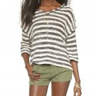 Free People Spells Trouble Stripe Pullover Ivory Black #F455X953 - Size L - New with Tag!