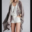 FREE PEOPLE Striped The Big Trail Poncho #OB412008S in Neutral Combo - Size L - New with Tag!