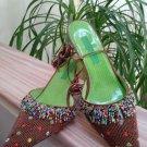 Beverly Feldman 'Welcome To Paradise' Beaded Pointed Toe Kitten Heel Slip On Shoes - Size 10!