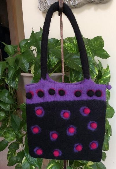 RISING TIDE Felted Wool Handbag Black & Multi Shoulder Bag Purse - HANDMADE - NWT!