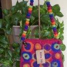 RISING TIDE Felted Wool Handbag Fuscia & Multi Shoulder Bag Purse - HANDMADE - NWT!