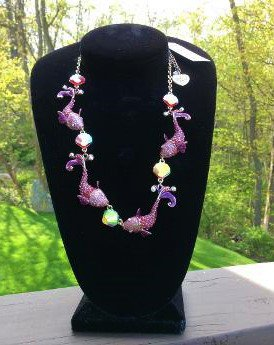 Betsey Johnson Glitter Reef Koi Fish Sea Pink/Red Druzy Necklace!