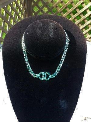 Vintage Blue Aurora Boraelis Choker Necklace with Intertwined Circle Center!