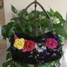 SHARIF Sequin Floral Shoulderbag Purse - Lots of compartments - Leopard Lining - Sleeper Bag NEW!