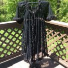 Vintage Black Lace Tulle Trim Negligee Robe - Size Large - Sexy!
