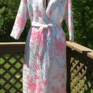 Vintage Mary McFadden Quilted Satin Pink Floral Robe - Size Medium - NWT - Luxurious!