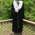 Cacique Plus Stretch Velour Feather Boa Trim Peignoir Set - Size 26/28 - NWT - 'Hollywood Regency'!