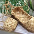 Hand Woven Organic Moroccan Raffia Straw Wicker Lace Up Shoes, Straw Rattan House Shoes -Sz 6-6½!