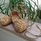 Hand Woven Organic Moroccan Raffia Straw Wicker Lace Up Shoes, Straw Rattan House Shoes -Sz 4½-5!