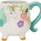 Boston Warehouse Mug, Turquoise Unicorn Collection, 18oz Capacity, Hand Painted Ceramic!