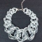 Clear Transparent Big Bold Chunky Chain Necklace, Statement, Bib, Fashion Party Necklace - NWT!