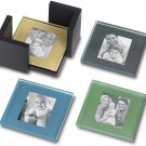 Sarah Peyton Home Multi-Color Glass Photo Coasters with Storage Cube!