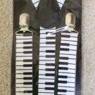 Piano Keys Print Novelty Braces/Suspenders 25mm Width Adjustable Length White/Black!