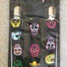 Day of the Dead Skulls Print Novelty Braces/Suspenders 25mm Width Adjustable Length!