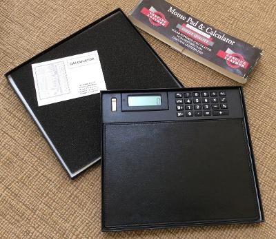 Classic Style Black Genuine Leather Mouse Pad & Solar Powered Calculator!