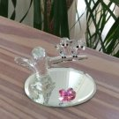 Swarovski Baby Lovebirds figurine perched on a branch with pink beaks & hearts!
