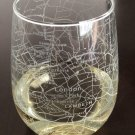 London Street City Map Etched Stemless 15oz Wine Glass - Your neighborhood in your hand!