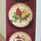 """Kirkland 's Homespun Christmas Mini Plate Display Set - 4 Plates & 26"""" Wrought Iron Rack!"""