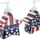 Boston Warehouse Americana Red White & Blue Star Mustard & Ketchup Pumps, Set of 2!