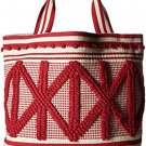 Lucky Brand Robin Tote Bag 100% Cotton in Poppy Red & Natural - NWT & Sleeper!