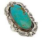 Chaco Canyon Southwest Sterling Silver Navajo Kingman Blue Turquoise Ring - Size 8 - Made in USA!