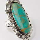 Chaco Canyon Southwest Sterling Silver Navajo Ceremonial Green Turquoise Ring -Size 8 -Made in USA!