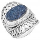 Himalayan Gems Sterling Silver Oval Blue Druzy Ring - Size 9!