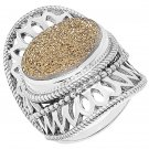 Himalayan Gems Sterling Silver Oval Gold Druzy Ring - Size 10!
