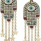 Betsey Johnson Mystic Baroque Queens Multi-Stone and Gold Hamsa Drop Earrings!