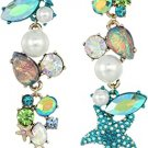 Betsey Johnson Crabby Couture Starfish and Stone Mismatch Drop Earrings, Blue!