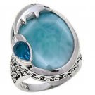 Traveller's Journey Blue Larimar & Blue Quartz Dolphin Ring Sterling Ring - Size 10!