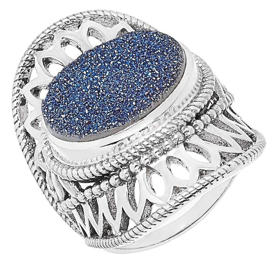 Himalayan Gems Sterling Silver Oval Blue Druzy Ring - Size 8!