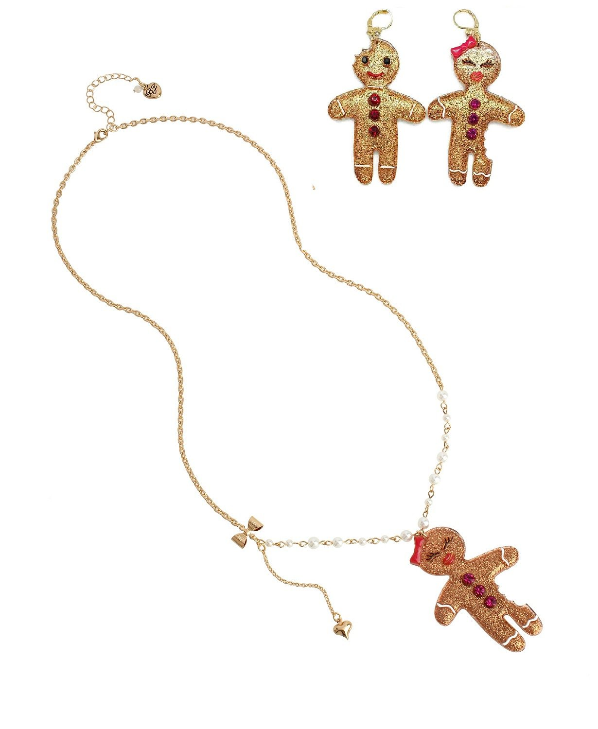 """Betsey Johnson Gingerbread Pendant Long Necklace, 28"""" + 3"""" extender & Matching Earrings - NWTs!"""