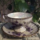 ROYAL SEALY CHINA Tea Cup & Saucer - Iridescent Background Violets Pattern, Pierced Saucer!