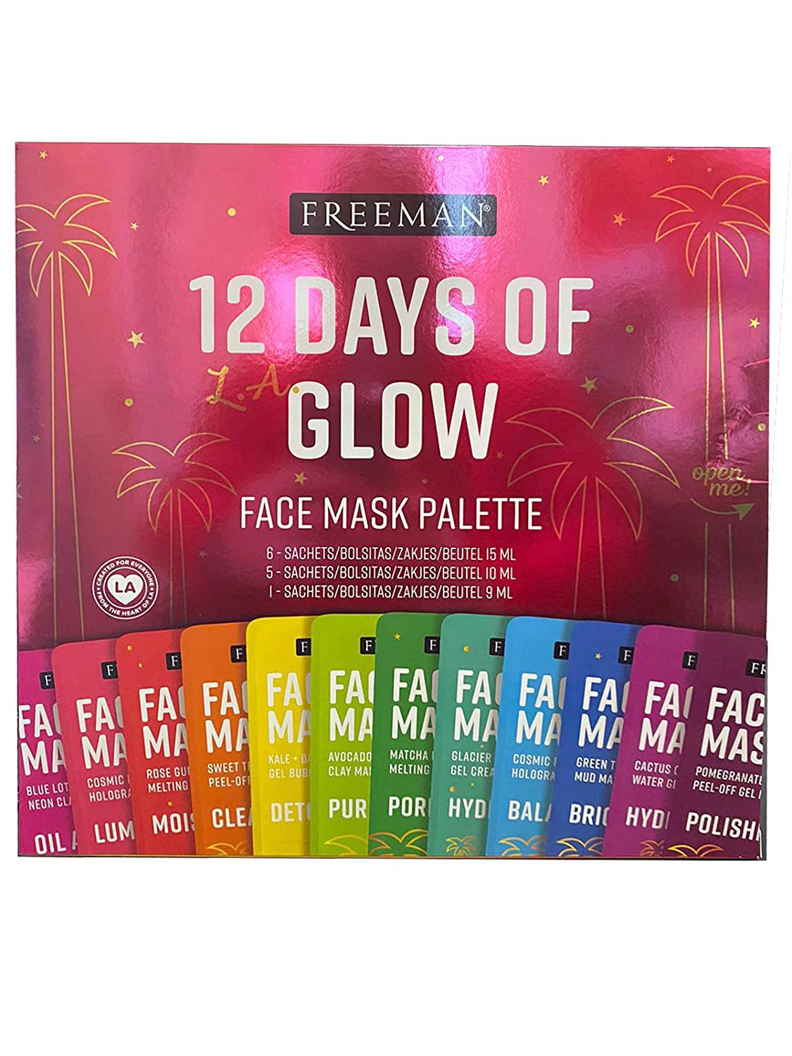 Freeman 12 Days of Glow Face Mask Palette Gift Set - Clay, Peel-Off, Sugar and Mud Masks Set of 12!