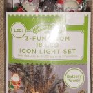 Holiday Time 18ct LED Nostalgic Icon Red Santa Claus Icon Light Set!