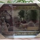 """Fetco 'Mother' Flower Pewter Glass Tabletop Picture Frame w Hanging Charm Accent 4""""x6"""" - NEW!"""