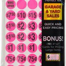 Sunburst Systems 7035 Priced Garage Sale Stickers, 1,000 Count Pre-Printed Labels, Pink!