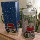 Vintage Dunkin Donuts Glass Munchkin Jar Christmas Canister by Durand International!