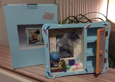 School Days Themed Photo Frame for 2½ x 3½ Photo-Moving Locker Door,Cap,Globe,Books,Diploma,Apple!