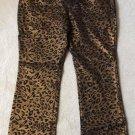 DG2 by Diane Gilman Metallic Gold Leopard Print Denim 5 Pocket Boot Cut Jeans - Size 20W - NWT's!