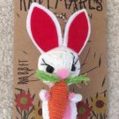 Knitmares Easter Bunny Rabbit Holding a Carrot Keychain with Jingle Bell!
