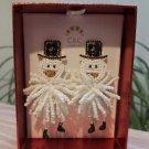 C&C California Festive Beaded 'SNOWMAN' Women's Pierced Earrings - CRAZY CUTE!