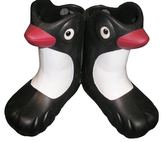 """POLLIWALKS KIDS """"TOYS FOR FEET"""" PENGUIN BLACK/WHITE RAIN BOOTS - SIZE 8 - BRAND NEW!"""