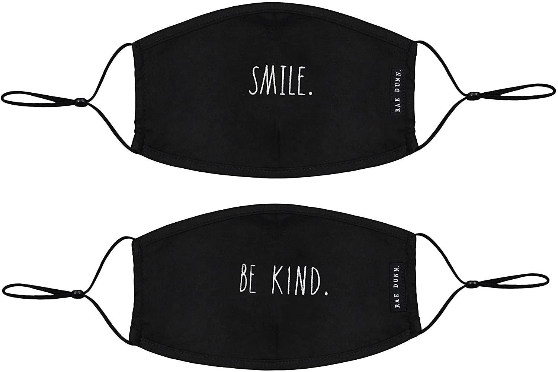 Rae Dunn Face Masks - Reusable Set of 2 - SMILE/BE KIND Design - Soft Fabric Cloth!