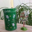 Lolita Mini Wine Glass Ornament - Hand Painted - I Love Santa!