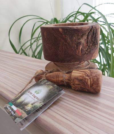 Arte Legno Natural Olive Wood Mortar and Pestle - Made in Italy!