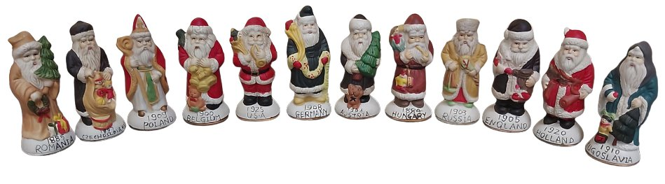Vintage Santas From Around The World 12 Porcelain Figurines in Original Box from the 1970's!